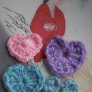 4 assorted colors Handmade Crochet Hearts Appliques