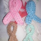 4 assorted colors Handmade Crochet Cancer Ribbon Appliques