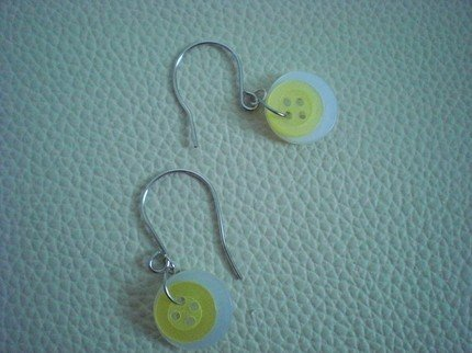 Handmade Buttons Sunny-Side Up Earrings Eggs