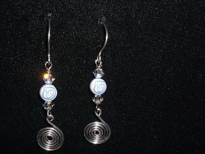 Handmade Crystal Beads Spiral Earrings