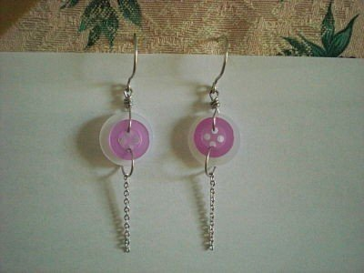 Handmade White Purple Button Earrings With Dangling Chain