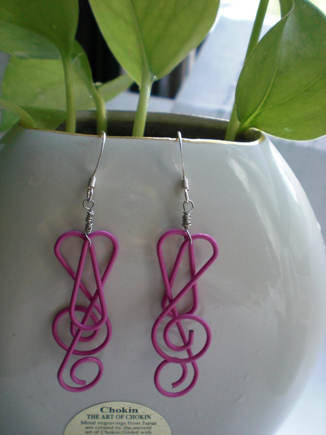 Pink Shaped Clips Music To Your Ears Earrings Handmade Earwires