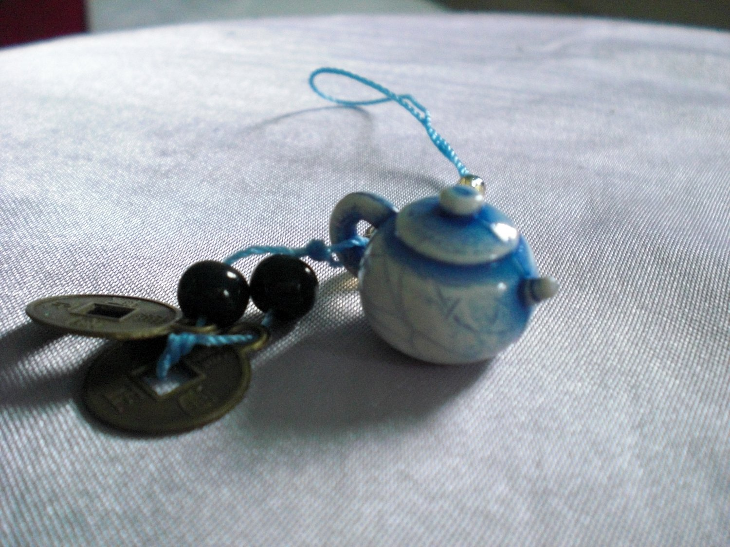 Super Cute Teapot Ancient Coins Phone Necklace Charm Zipper Pull