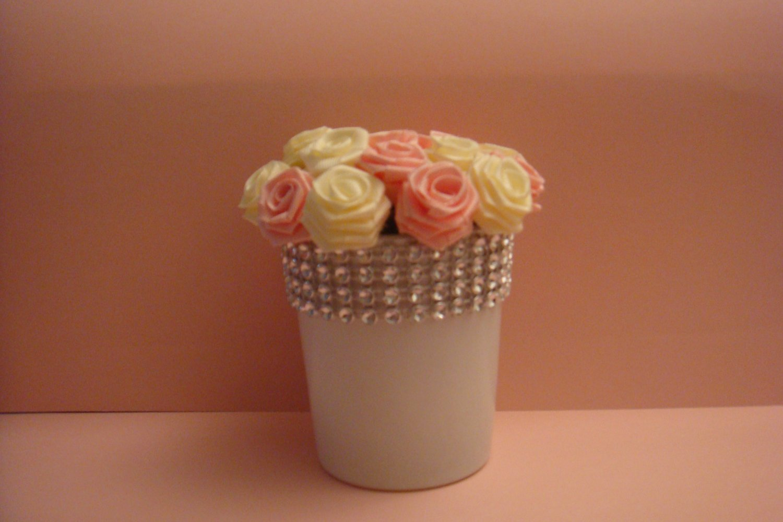 Handmade Mini Silk Ivory & Pink Roses