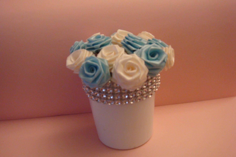 Handmade White and Blue Silk Flowers