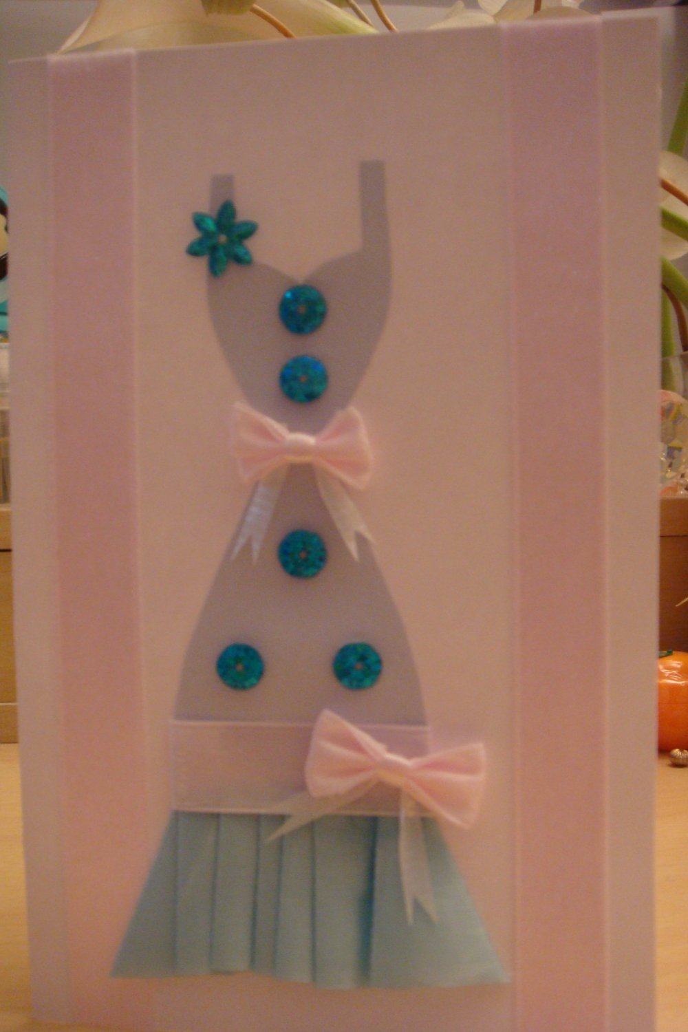 Blue Lady w. Sequins Pink Bow Dress Greeting Card