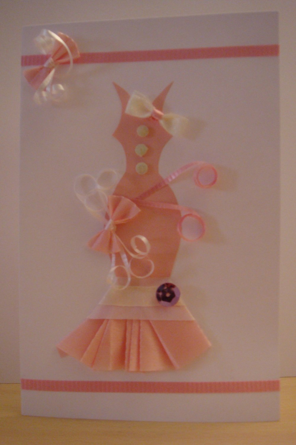 Gorgeous Pink Ribbon with Sequin Dress Card