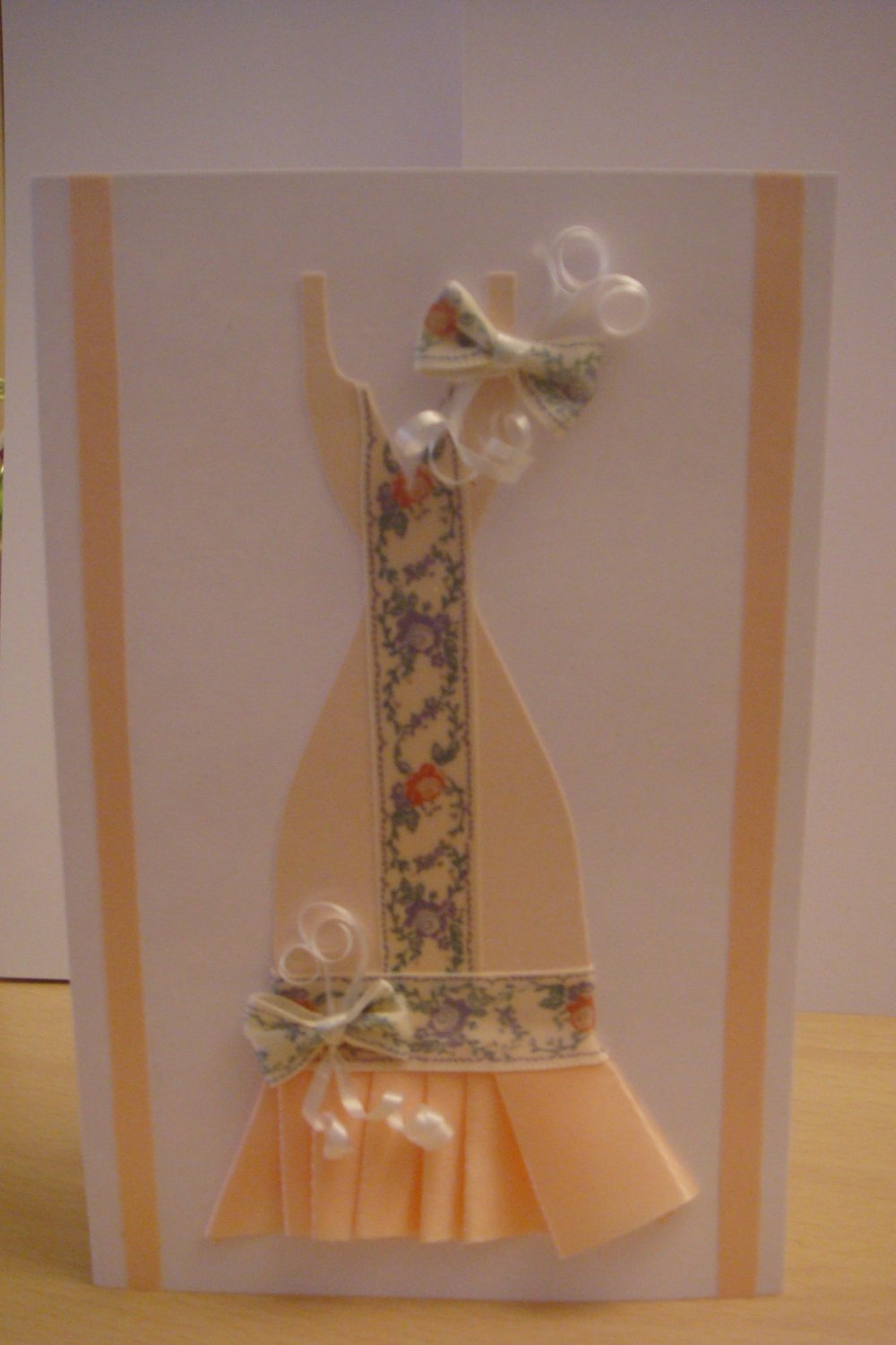 Flowery Peachy and White Classy Dress Card