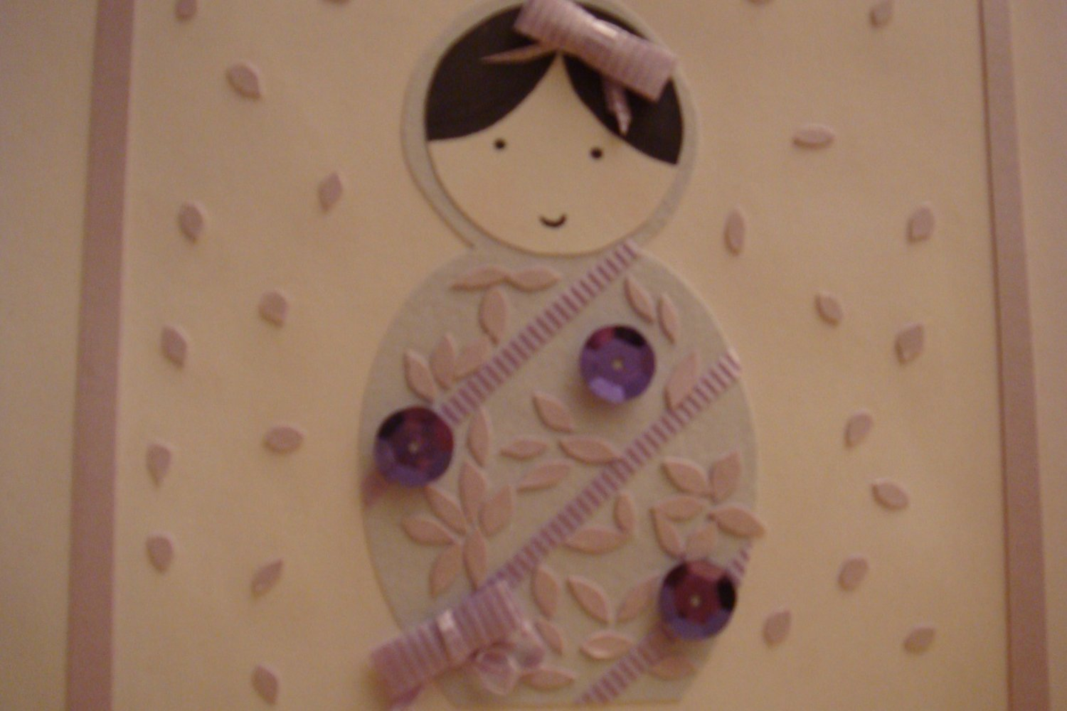 Light Purple Russian Doll with Purple Sequins and Bows Card