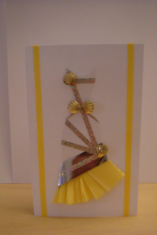 Beautiful Yellow Seashell Sparkle Dress Card