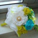 Classy White Yellow Blue Felt Bouquet