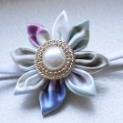 Handmade Blue and Pink Kanzashi Flower Headband with Pearl Gold Button
