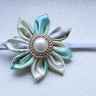 Handmade White and Green Kanzashi Flower Headband with Pearl Gold Button