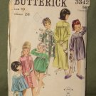 Vintage 1960's Children's Sleepwear Sewing Pattern Butterick #3342