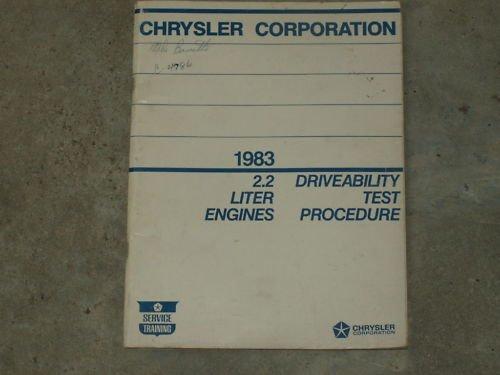 1983 CHRYSLER 2.2 LITER Drive Test Manual FREE SHIP
