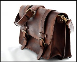 16 inch Laptop or Book bag - Mustang full thickness leather bag
