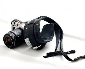All leather camera strap for DSLR camera - Black