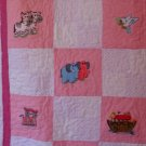 "Pink Noah Ark Embroidered Baby Quilt ""Also in Blue, Green, & Yellow"""