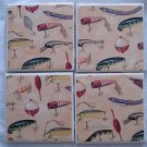 Gone fishing Cermaic Tile Coaster Set