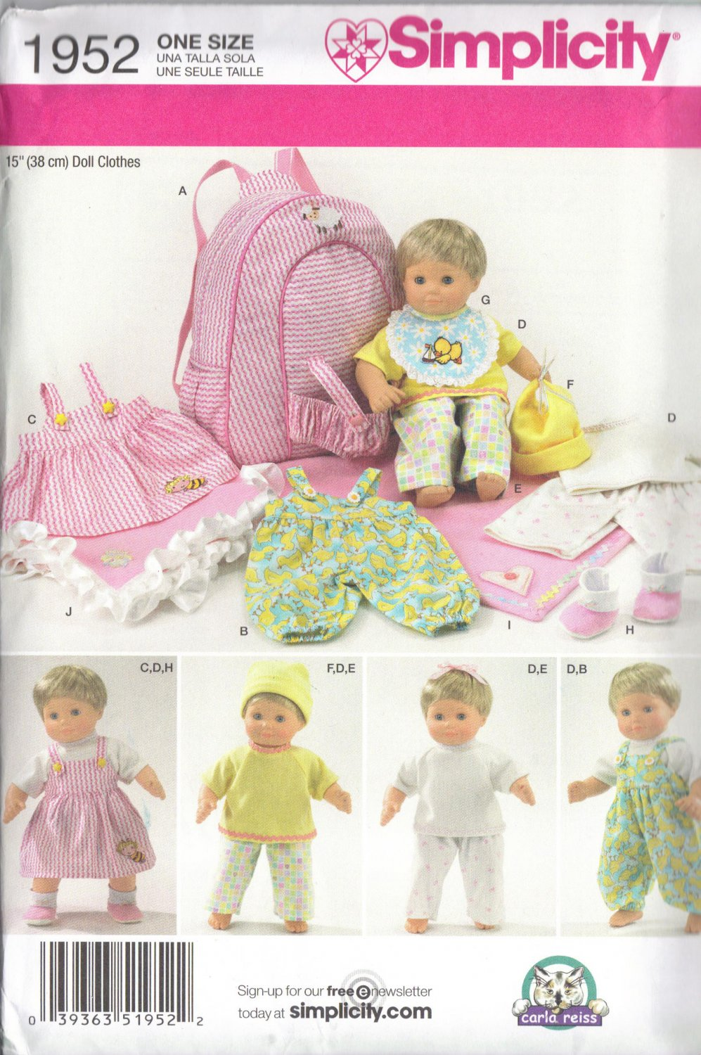 Baby Doll Backpack and Clothes Pattern - Simplicity 1952