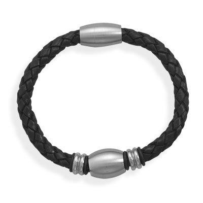 Black Leather Bracelet Stainless Steel Beads