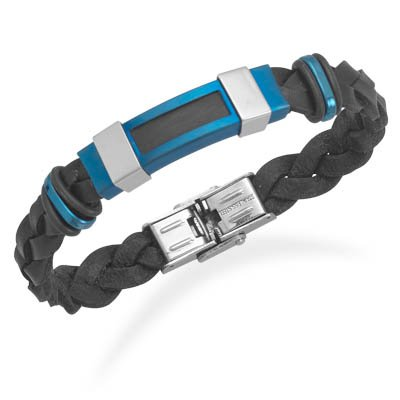 Black Leather Blue Stainless Steel