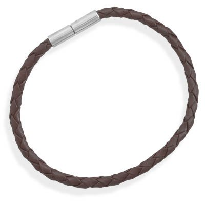 Braided Brown Leather Stainless Steel Closure