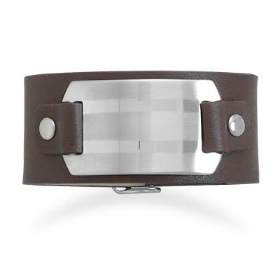Leather Bracelet with Stainless Steel ID Plate