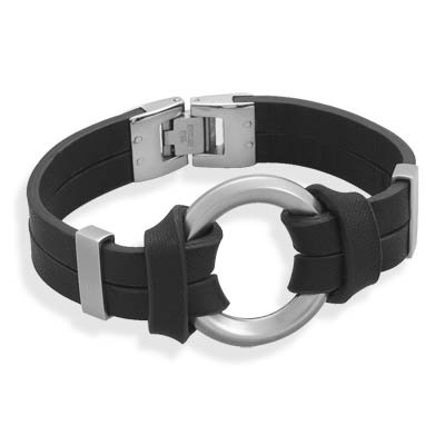Black Leather Bracelet with Center Circle Design