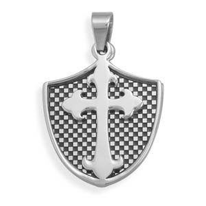 2 Piece Shield and Cross Pendant