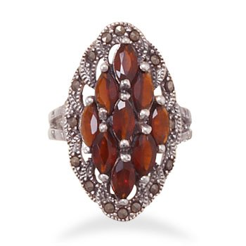 Marcasite and Garnet Ring