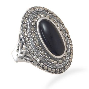 Marcasite and Black Onyx Ring
