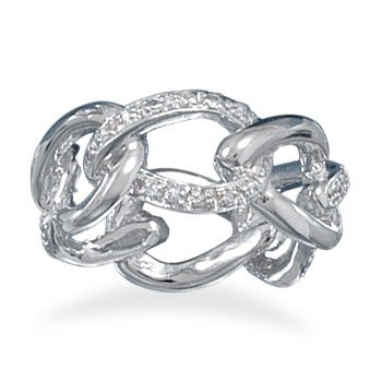 Rhodium Plated Link Style Ring