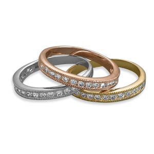 Three Piece Tri Tone Ring Set