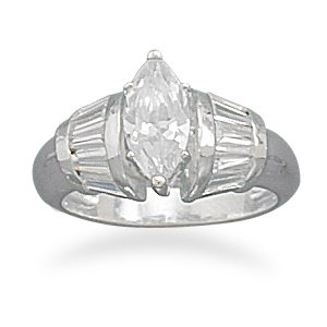 Marquise Cut CZ with Baguette