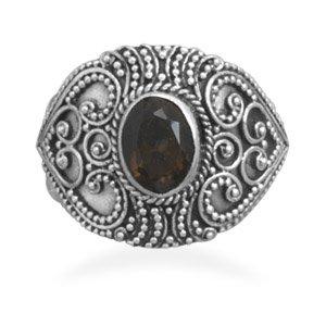 Bali Style Smoky Quartz Ring