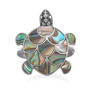 Paua Shell Turtle Ring