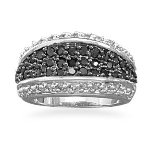 Black and Clear CZ Ring