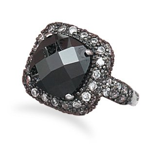 Black Rhodium Plated CZ Ring