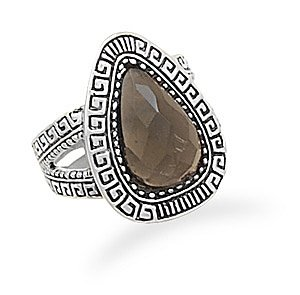 Smoky Quartz Ring with Greek Key