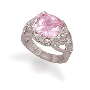 Synthetic Pink Sapphire and Clear CZ