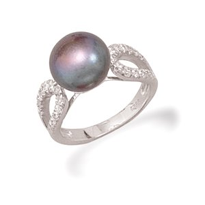 Grey Cultured Freshwater Pearl and CZ Ring
