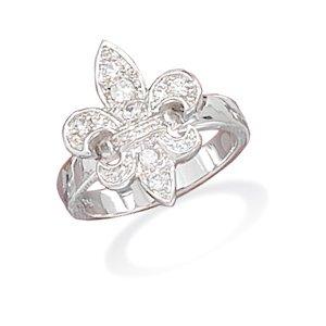 CZ Fleur- de -Lis Ring