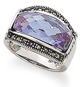 Domed Lavender CZ and Marcasite Ring
