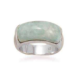 Domed Green Jade Ring