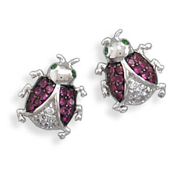 CZ Ladybug Earrings