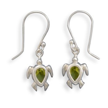 Green CZ Turtle Earrings