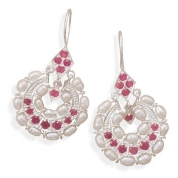 Ruby and Cultured Freshwater Pearl Earrings