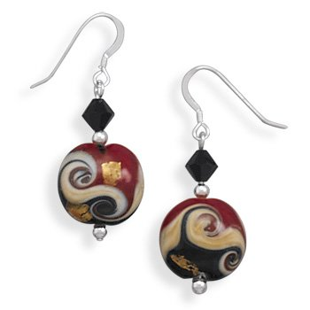 Lampwork Glass Bead French Wire Earrings