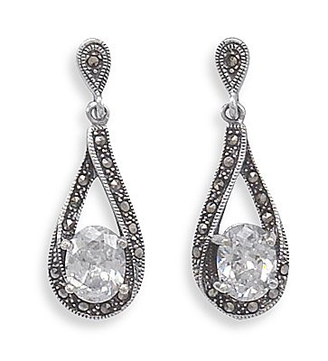 Marcasite with Oval CZ Drop